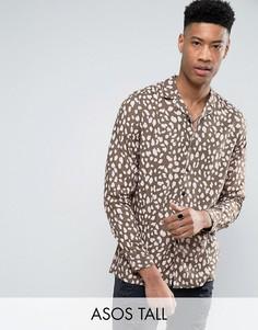 Рубашка из вискозы классического кроя с леопардовым принтом ASOS TALL - Зеленый