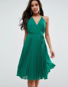 Платье на бретельках с отделкой плиссе ASOS - Зеленый