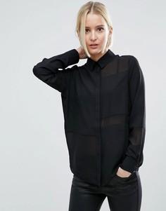 Блузка с плотными и прозрачными вставками ASOS - Черный