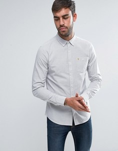 Светло-бежевая узкая рубашка в клеточку на пуговицах Farah Webber - Белый