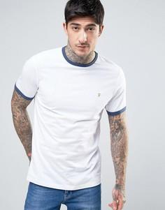 Бело-синяя футболка узкого кроя Farah Groves Ringer - Белый