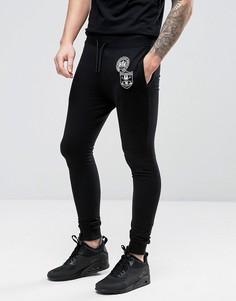 Суперузкие трикотажные штаны с нашивками Only & Sons - Черный