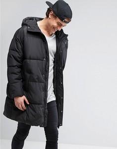 Свободная дутая куртка с капюшоном ASOS - Черный