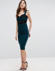 Платье-футляр с кружевной вставкой Vesper - Зеленый