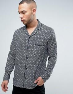 Рубашка с принтом и отложным воротником Brooklyn Supply Co - Коричневый