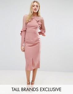 Платье с кружевными вставками и оборками True Decadence Tall - Розовый