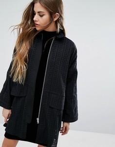 Рубашка-куртка с вырезным узором и завязками Religion - Черный