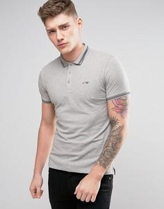 Серое узкое поло из пике с логотипом Armani Jeans - Серый