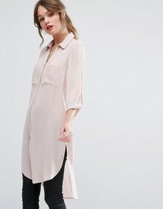 Длинная рубашка на молнии New Look - Розовый