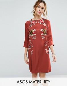 Цельнокройное премиум-платье с вышивкой ASOS Maternity - Красный