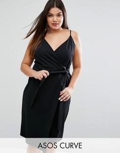 Креповое платье миди с запахом и кольцом ASOS CURVE - Черный