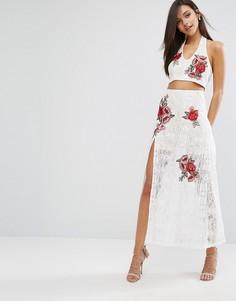 Кружевная юбка макси с цветочной вышивкой Love Triangle - Белый