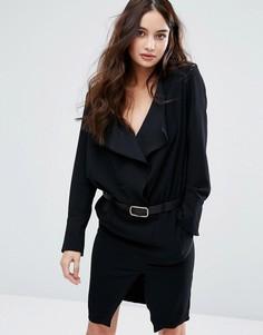 Платье с длинными рукавами и поясом BA&SH - Черный Ba&Sh