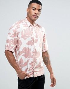 Рубашка с короткими рукавами и лиственным принтом Diesel S-WESTY - Розовый