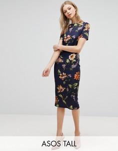 Платье-футболка миди с цветочным принтом ASOS TALL - Темно-синий