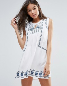 Свободное пляжное платье с вышивкой Anmol - Белый