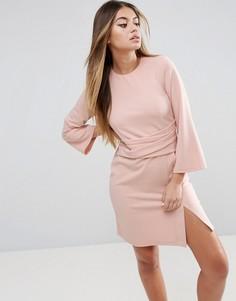 Платье мини с запахом на юбке и расклешенными рукавами ASOS - Розовый
