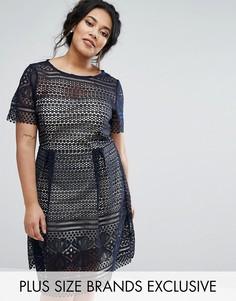 Кружевное платье для выпускного Paper Dolls Plus - Темно-синий