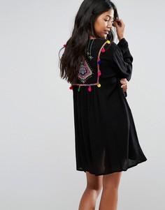 Кимоно с вышивкой на спине Akasa - Черный