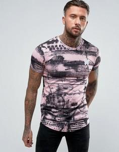 Обтягивающая футболка с принтом Good For Nothing - Розовый