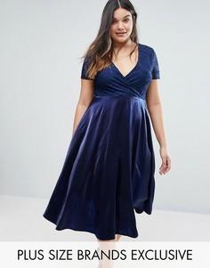 кружевное платье миди с пышной юбкой Truly You - Темно-синий