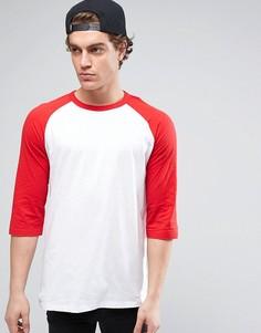 Футболка с красными рукавами реглан длиной 3/4 New Look - Красный