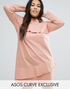 Трикотажное цельнокройное платье с рюшами ASOS CURVE - Розовый
