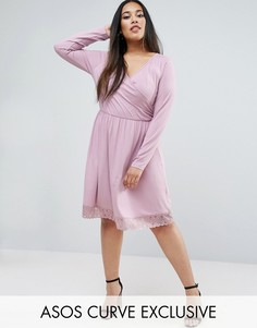 Короткое приталенное платье с запахом и кружевным подолом ASOS CURVE - Фиолетовый