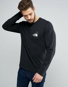 Тонкий черный лонгслив с квадратным логотипом The North Face - Черный