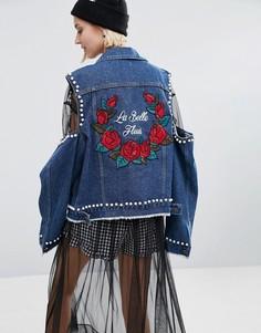 Джинсовая куртка с нашивками STYLENANDA - Синий