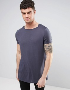 Удлиненная футболка из фактурной ткани с вырезом лодочкой ASOS - Серый
