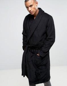 Флисовый халат с шалевым воротником ASOS - Черный