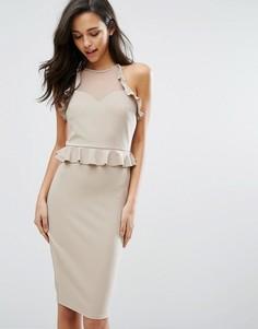 Платье-футляр с рюшами Miss Selfridge - Бежевый