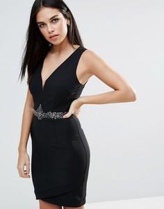 Облегающее платье с глубоким вырезом и камнями на талии Little Mistress - Черный
