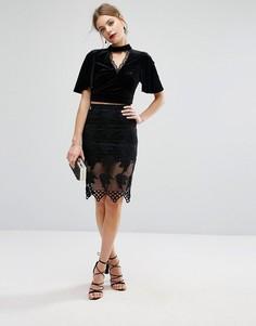 Кружевная мини-юбка Glamorous - Черный