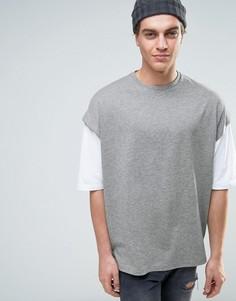 Oversize-футболка из плотного трикотажа с многослойными рукавами ASOS - Серый
