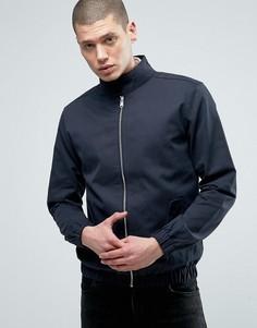 Легкая хлопковая куртка Харрингтон Threadbare - Темно-синий