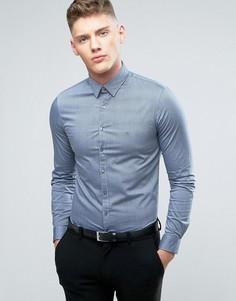 Узкая деловая рубашка с логотипом Calvin Klein - Синий
