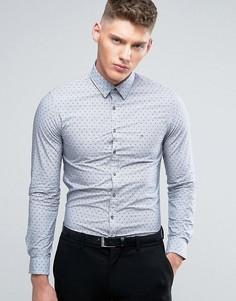 Узкая рубашка с цветочным принтом и логотипом Calvin Klein - Синий