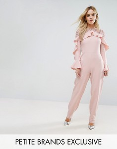 Комбинезон с кружевом и оборками John Zack Petite - Розовый