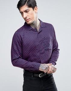 Узкая рубашка с принтом сердечек Religion - Темно-синий