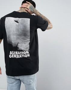 Футболка с большим принтом на спине Antioch Alien Generation - Черный