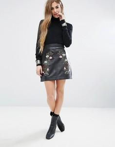 Кожаная юбка с цветочной вышивкой Rokoko Trophy - Черный