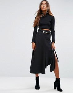 Трикотажная юбка миди ASOS - Черный