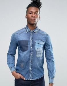 Джинсовая рубашка с эффектом поношенности Pepe Jeans - Синий