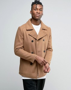 Шерстяное пальто-бушлат Selected - Рыжий