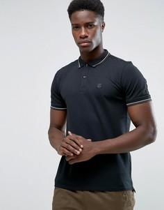 Эластичная узкая футболка-поло Selected - Черный