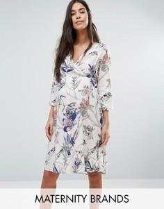 Платье с запахом и цветочным принтом Mamalicious - Мульти Mama.Licious