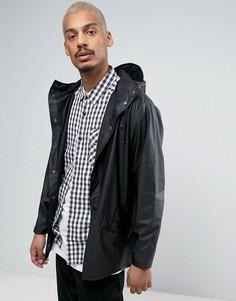 Черная короткая водонепроницаемая куртка с капюшоном Rains - Черный