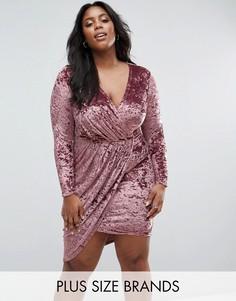 Платье из мятого бархата с асимметричным краем Club L Plus - Розовый